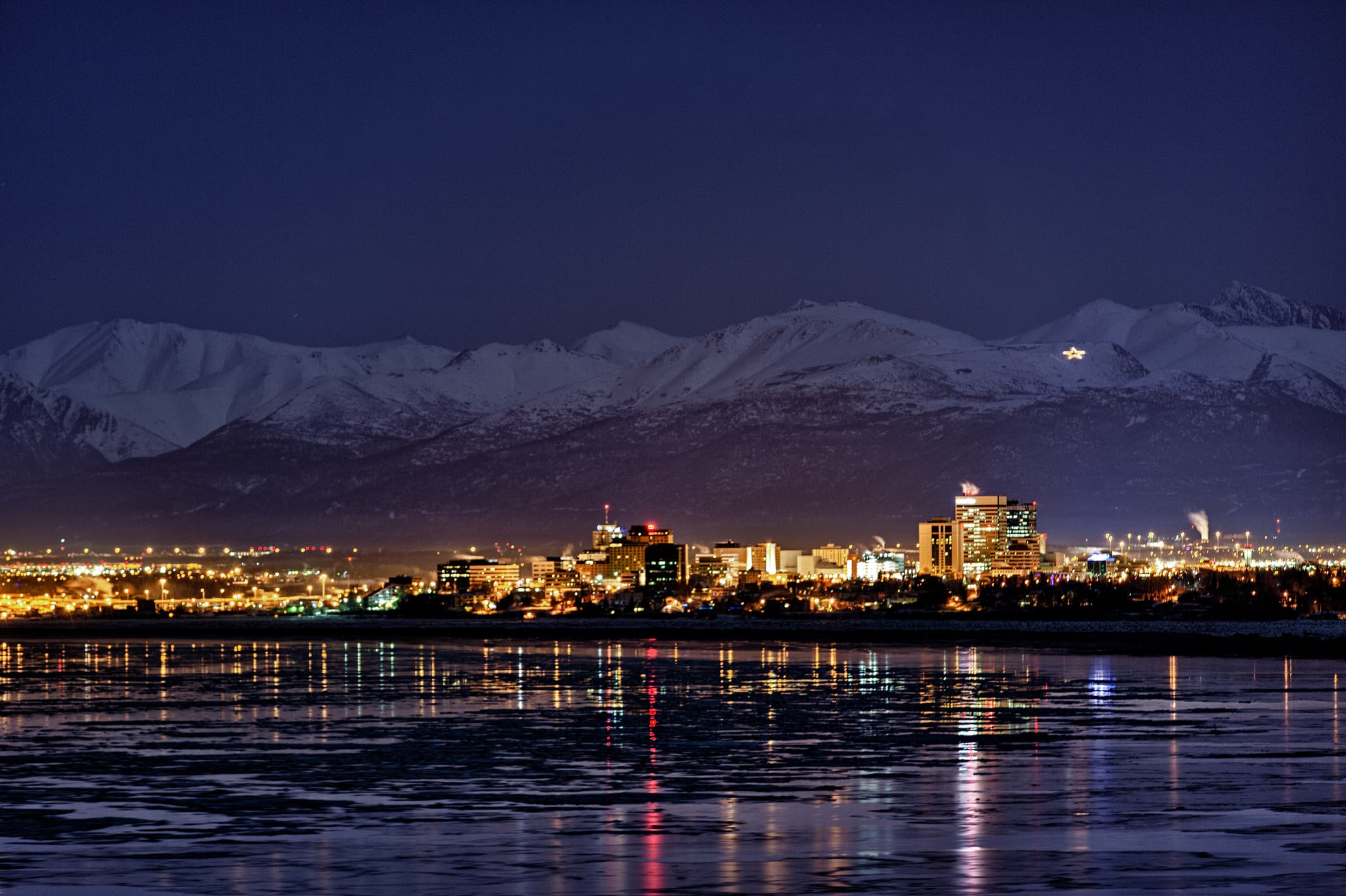 Anchorage skyline at night