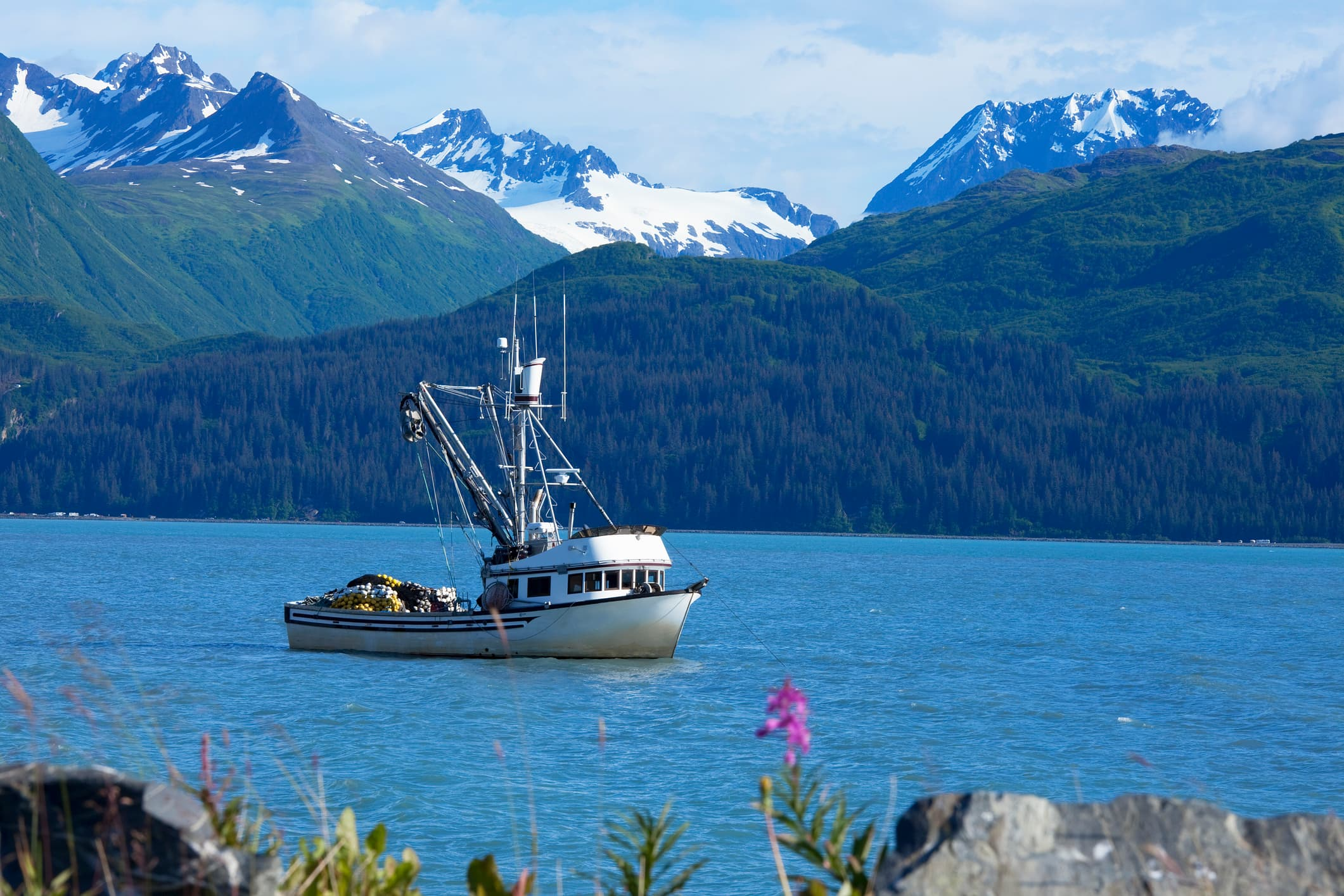 Salmon seining fishing boat anchored on a bay