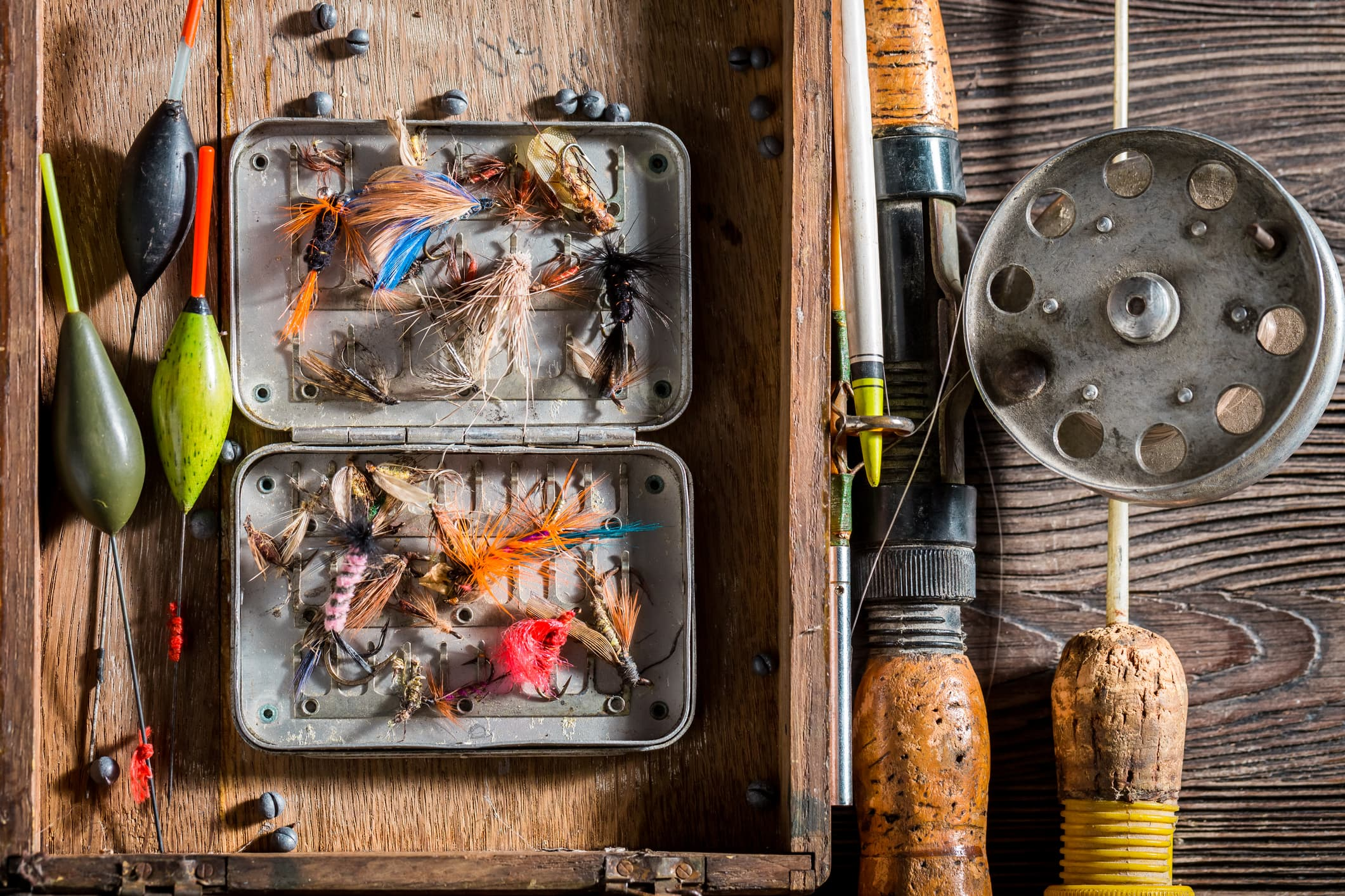 Angler equipment with lures and fishing rod