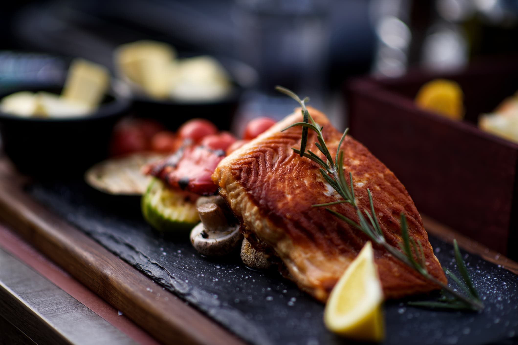 Grilled salmon on a grill