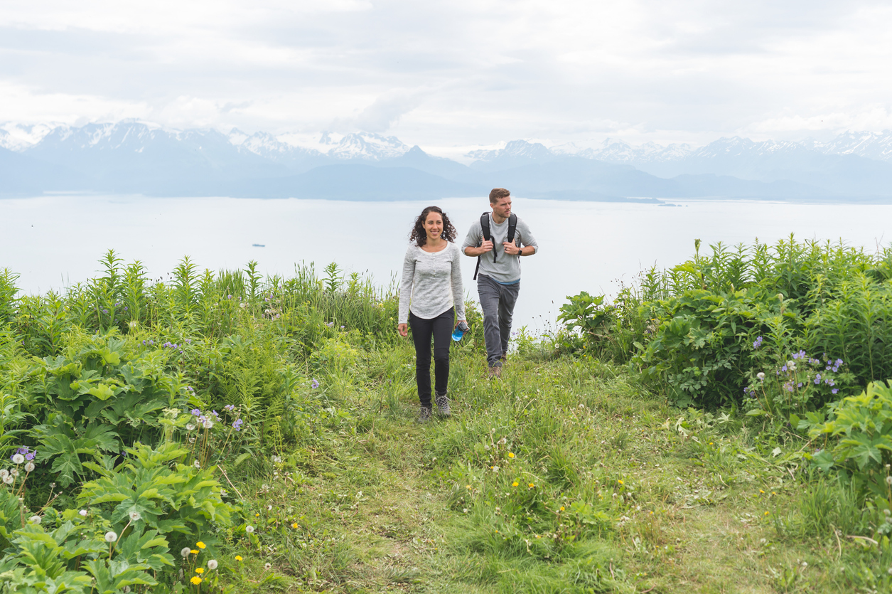 Young Couple Hiking in Alaska