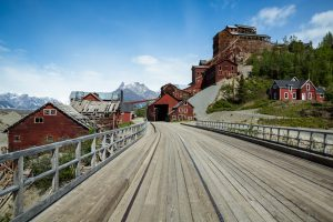 A bridge leading to the ghost town of Kennicott, Alaska