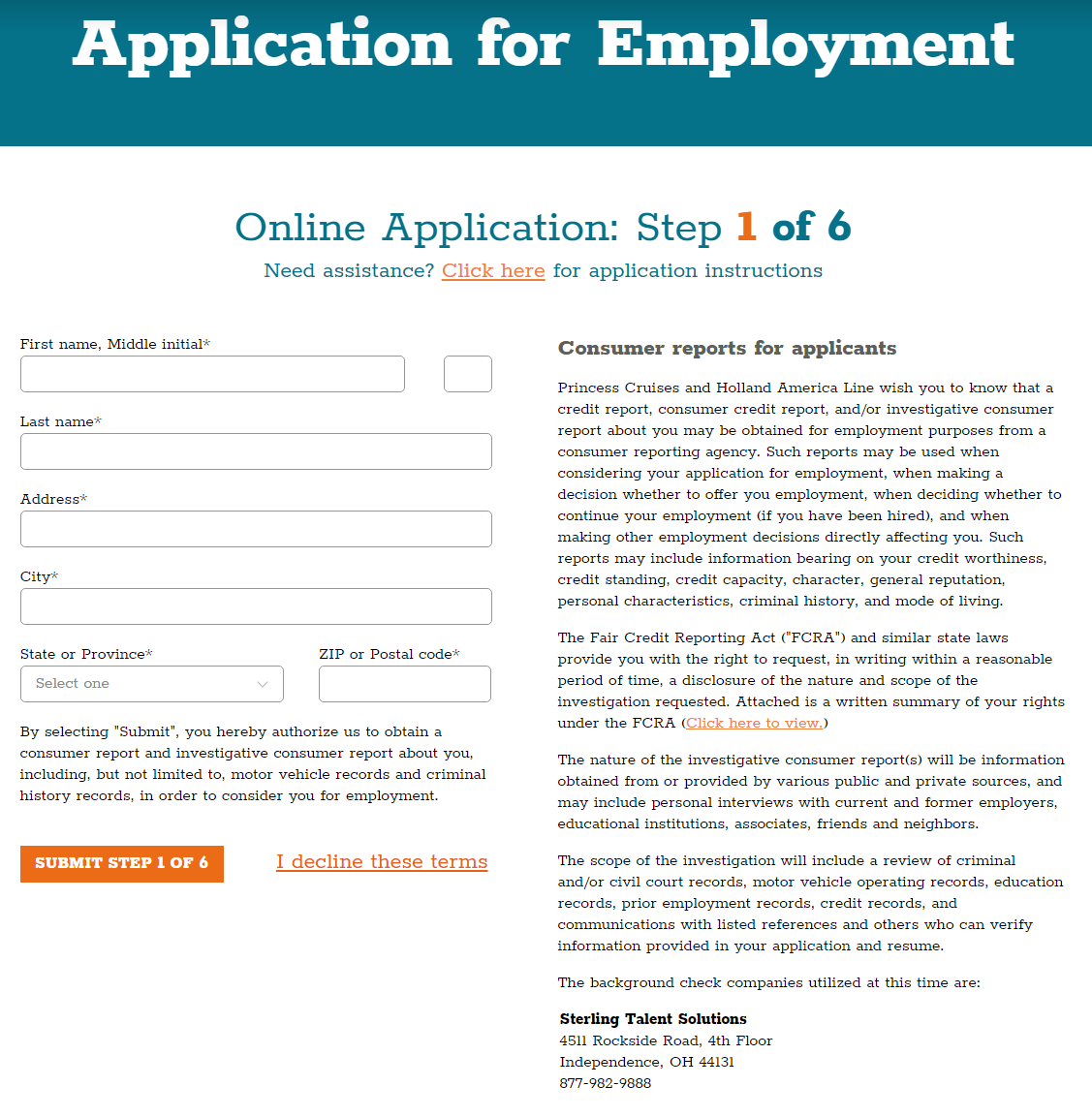 Application for Employment Step 5