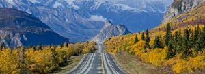 Glenn Highway heading towards Lions Head Mountain during fall in Alaska
