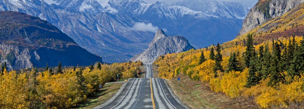 Glenn Highway heading towards Lions Head Mountain during fall in Alaska