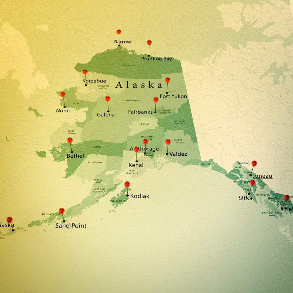 Map of Alaska - iStock